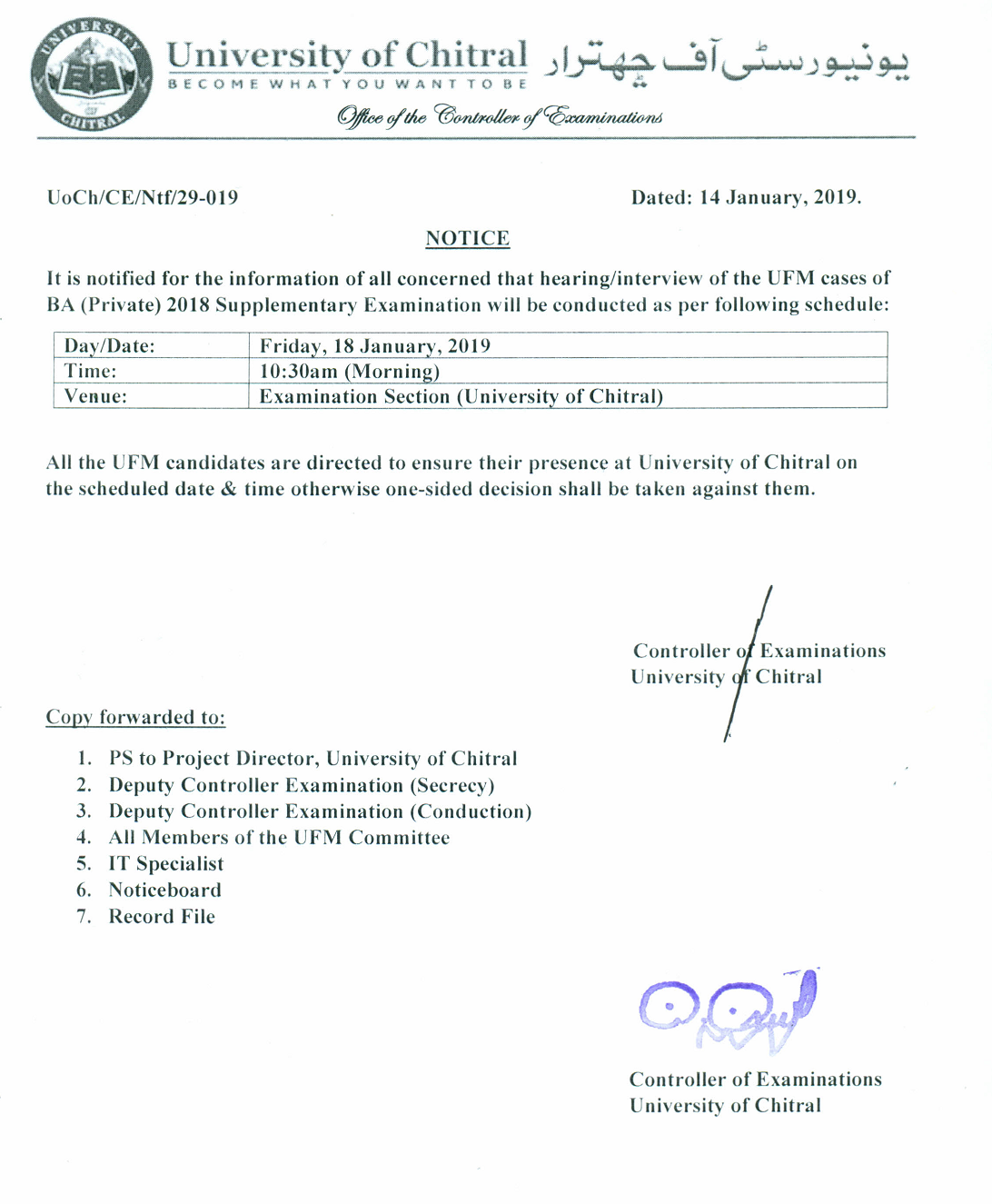 Schedule for hearing/interview of the UFM cases of BA (Private) 2018